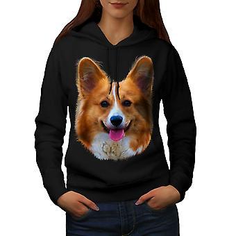 Cute Dog Puppy Women BlackHoodie | Wellcoda
