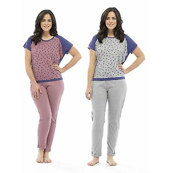 2 Pack Ladies Tom Franks Star Print Polycotton Long Pyjama pajama Lounge Wear
