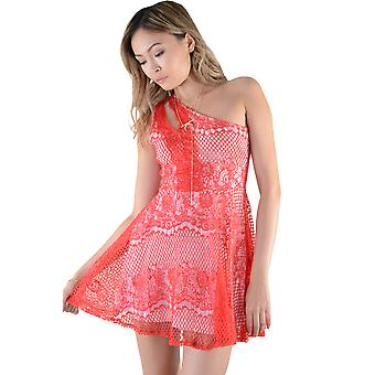 LMS Red Lace And Netting One Shoulder Skater Dress