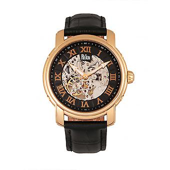 Reign Kahn Automatic Skeleton Leather-Band Watch - Rose Gold/Black