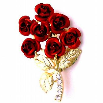 Valentine Gift Red Rose Bouquet Cake Brooch Pin Christmas Wedding Gift