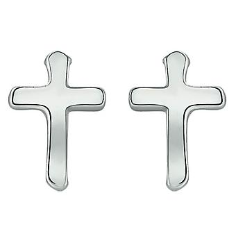 Bella Cross Stud Earrings - Silver