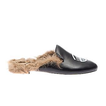 Chiara Ferragni Cf1640 Femmes-apos;s Black Leather Slippers