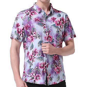 Allthemen الرجال & apos;ق الأزهار الأكمام القصيرة القطن مزيج الصيف قميص عارضة