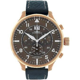 Reloj Zeno-watch de Super de gran tamaño Chrono Navigator marrón 6221N-8040Q-Pgr-a6