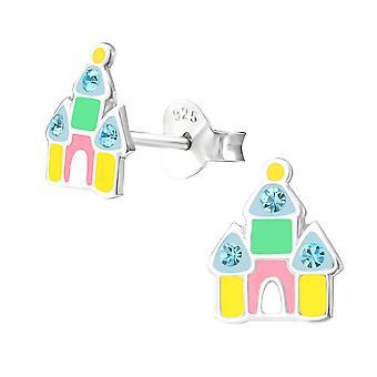 Children's Sterling Silver Colourful Castle Stud Earrings