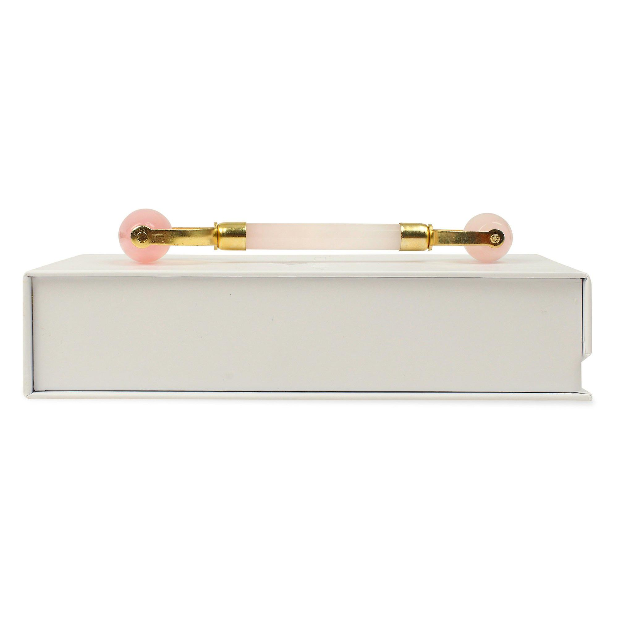 Double headed rose quartz roller - natural chemical free crystal in a silk lined box