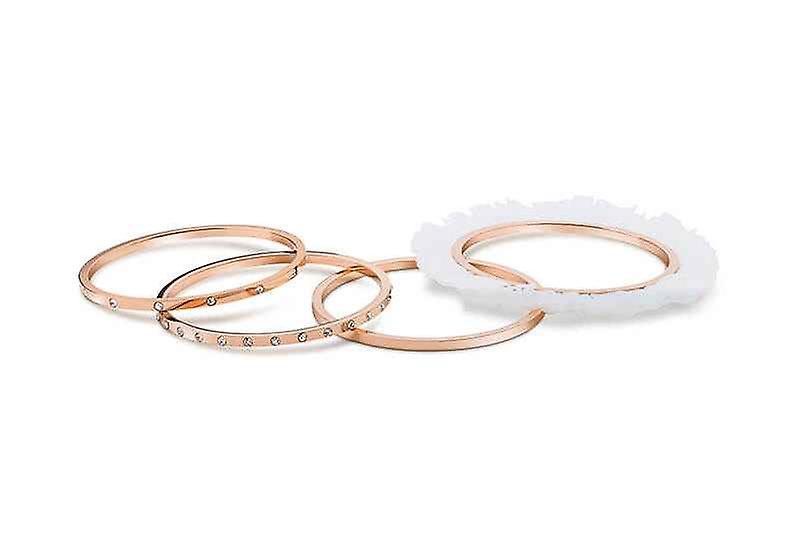 Fancy Hoop Ballerina Bangles Bracelet, Set of 4, Stainless Steel
