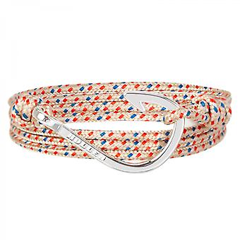 Holler Kirby  Silver Polished Hook / Gold, Red and Blue Paracord Bracelet HLB-04SRP-P06