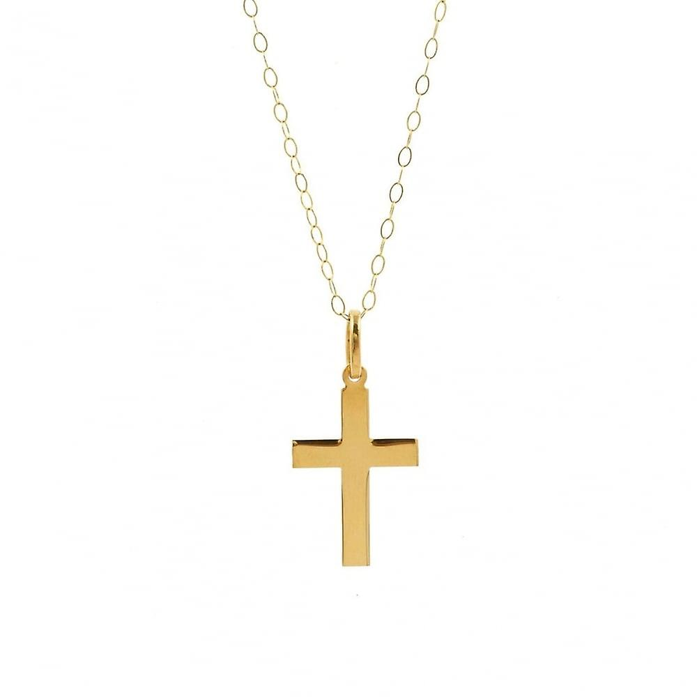 Eternity 9ct Gold Plain Cross Pendant And 16'' Trace Chain