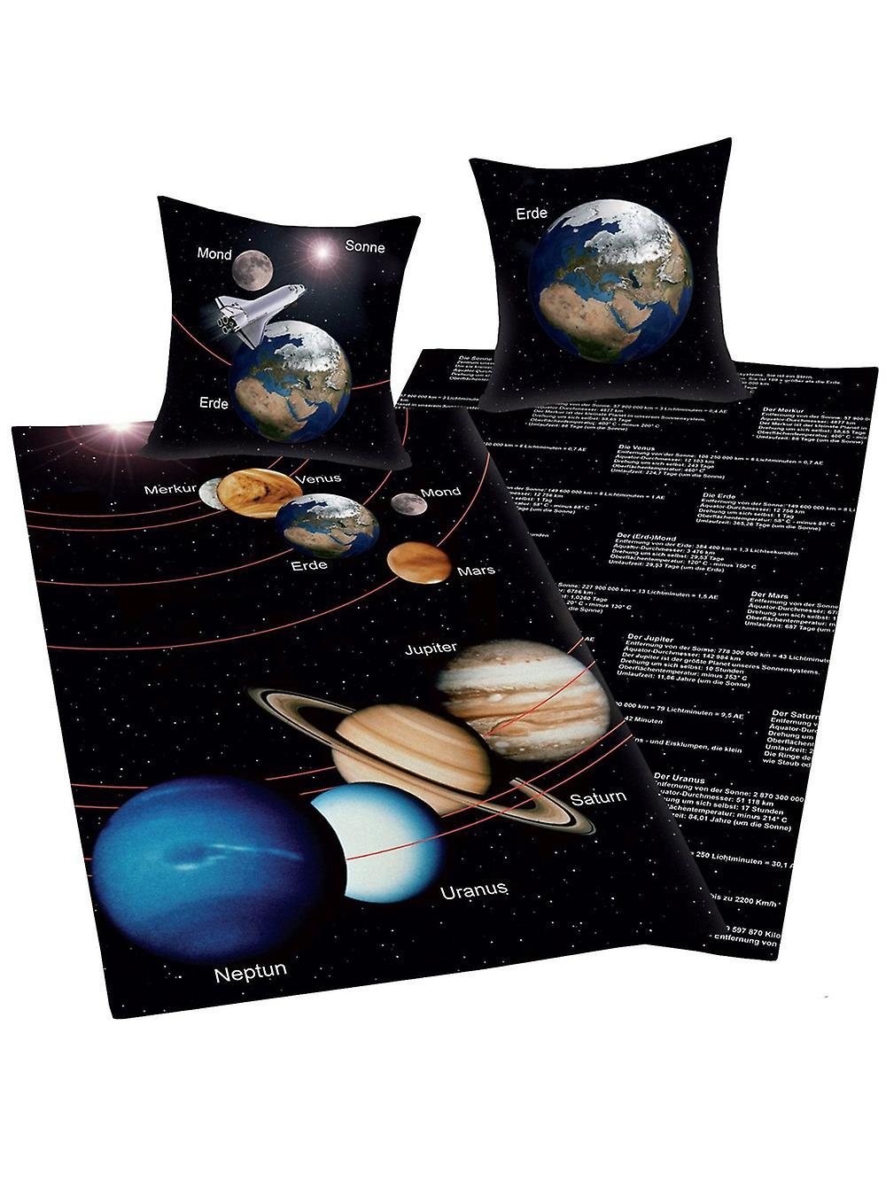 Solar System Reversible Single Duvet Cover and Pillowcase Set - German