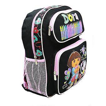Medium Backpack - Dora the Explorer - Black Crayon w/Boots 14