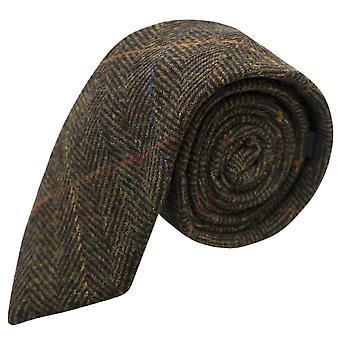 Cravate de luxe Vert Olive foncé Herringbone Check, Tweed