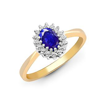 Jewelco London 9ct Yellow Gold H I2 0.12ct Diamond and Oval Lilac 0.55ct Tanzanite Classic Royal Cluster Ring 9mm
