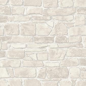 3D effect bakstenen behang wit zilver metallic rustieke stenen muur getextureerde Rasch