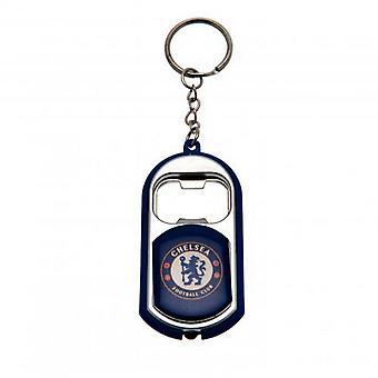Chelsea FC officiella fotboll Crest flaska öppnare nyckelring med ficklampa