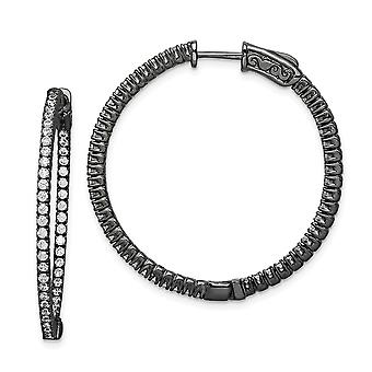 925 Sterling Silver Polished Prong set Hinged hoop Safety clasp Ruthenium plating Black Plated With CZ Cubic Zirconia Si