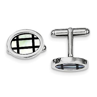 925 Sterling Silver Solid Polished with Simulated Mother of Pearl Black Enamel Cuff Links Jewelry Gifts for Men