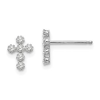 14k White Gold Polished CZ Cubic Zirconia Simulated Diamond Religious Faith Cross Post Earrings Measures 9x7mm Jewelry G
