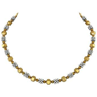 Eternal Collection Apollo Silver And Gold Hematite Beaded Necklace