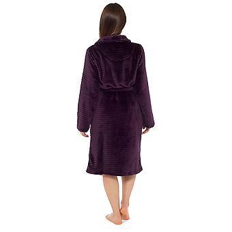 Dámy Stripe reliéfní design fleece noční šaty župan župan župan župan