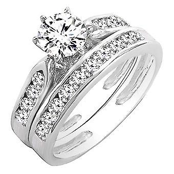 Dazzlingrock kollektion AGS certificeret 0,95 Carat (CTW) 14K hvid guld runde diamant damer Forlovelses ring sæt 1 CT, hvid guld