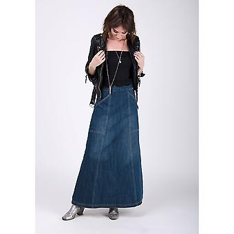 Heather maxi gonna in denim vintagewash