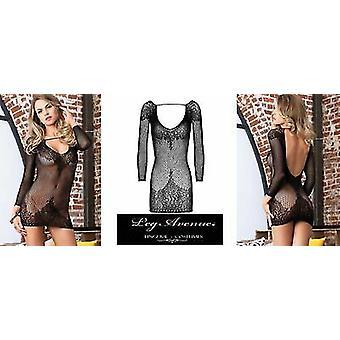 Leg Avenue Lingerie [ UK 8 - 14 ] Black Longsleeve Ring-Net & Floral Lace Minidress