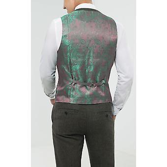 Dobell Mens Green Flannel Waistcoat Regular Fit 5 Button