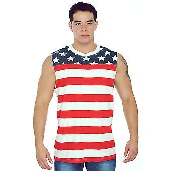 Men's USA Flag Tank Top Proud To Be An American Sleeveless Shirt