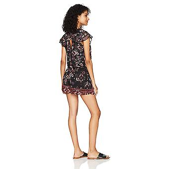 A. Byer Women-apos;s Short Sleeve Printed Wrap Front Romper, pat c S