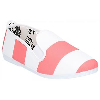 Flossy Urpia Ladies Canvas Slip On Plimsolls Coral