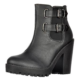 Onlineshoe Rihanna Classic Chelsea Boot - With Heel And Double Buckle - Black