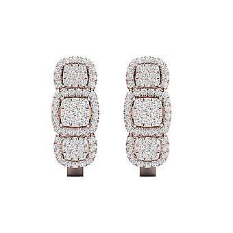 IGI-Certified-decouer-1/2-CT-TDW-Diamond-14k-rose-Gold-trio-cluster-Halo-Hoop-earrings-(h-i,-I2)