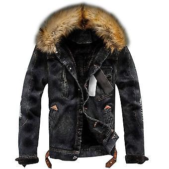 Allthemen Men 's Solid Wool Denim Jacket Winter Warm Thick Acolchoado Outwear Colar Fofo