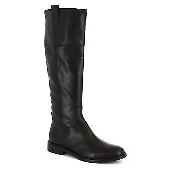 Leonardo Shoes Women's handmade booties in black calf leather with side zip