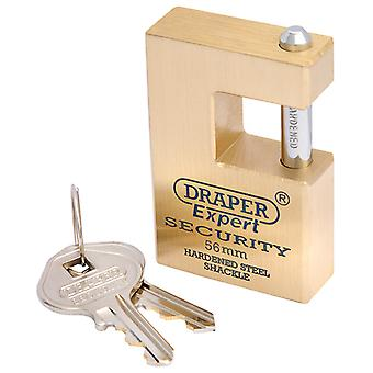 Expert 56mm Quality Close Shackle Solid Brass Padlock and 2 Keys with Hardened Steel Shackle - 8313/56