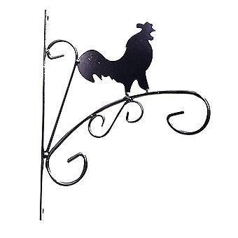 "Kingfisher HBBANI 8.5"" (21.5cm) Novelty Cockerel Design Black Metal Hanging Planter Basket Wall Bracket"