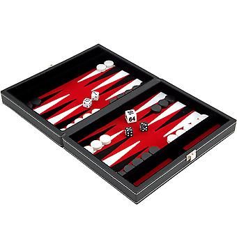 9 Inch Magnetic Leatherette Backgammon Set with Red Felt Inlay