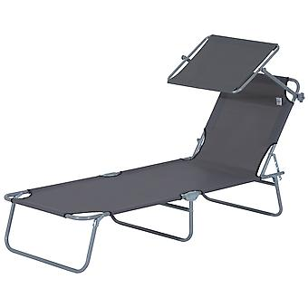 Outsunny Reclining Chair Folding Lounger Seat with Sun Shade Awning Beach Garden Outdoor Patio Recliner Adjustable (Grey)