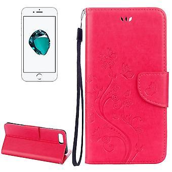 iPhone 8 PLUS,7 PLUS lompakko kotelo, fancy perhosia nahkakansi, magenta