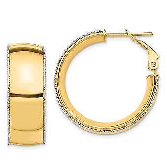 14k 9.5mm Polished With Wg Sparkle Cut Wire Accent Round Hoop Earrings Jewelry Gifts for Women