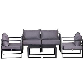 Outsunny 4 Pcs Aluminium Frame Dining Set w/ Sofa 2 Chairs Glass Top Table Foam Cushions Garden Outdoors Lounging