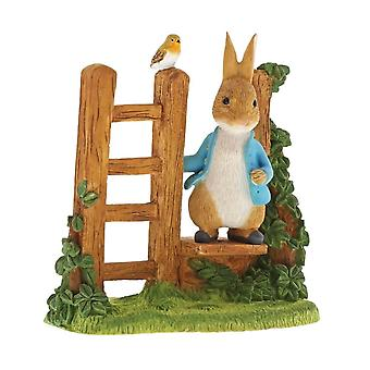 Beatrix Potter Peter Rabbit on Wooden Stile Figurine