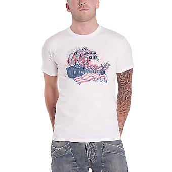 Creedence Clearwater Revival T Shirt Guitar And Flag Official Mens White