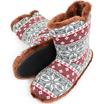 Mens tricot Style chausson bottes / chaussons chauds fausse fourrure doublure - marine / rouge - grand
