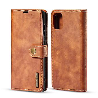 Dg. MING Samsung Galaxy A71 Split Leather Wallet Case - Brown