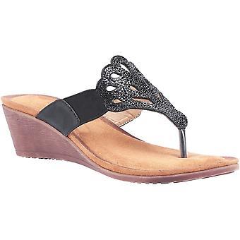 Divaz Womens Felicity Toe Post Wedge Summer Sandals