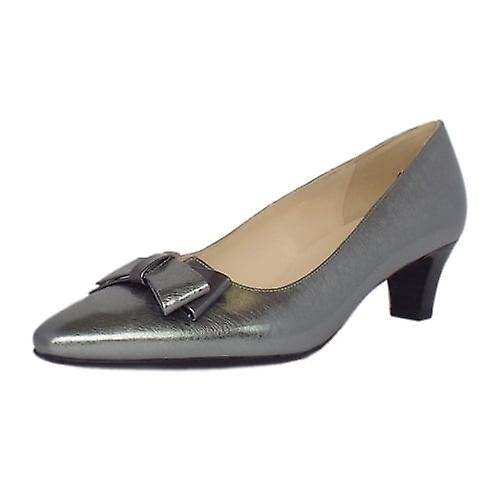 Peter Kaiser Edeltraud Women's Dressy Mid Heel Court Shoes In Brushed Effect Steel Silver Finish s6tLS