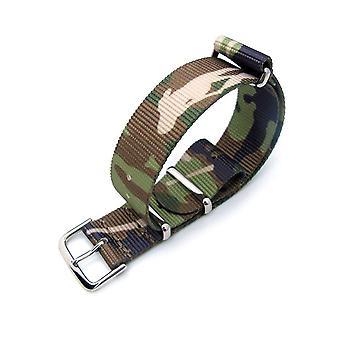Strapcode n.a.t.o urrem 20mm nato g10 nylon militær urrem, skov camouflage, poleret
